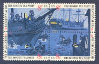 United States Bicentennial, Boston Tea Party, Block of 4, United States, 1973 (Scott 1480-3)