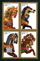 Carousel Horses, Mint Block of 4 Stamps, United States, 1995 (Scott 2976-9)