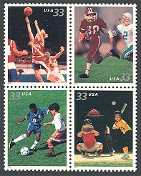 Youth Team Sports, Mint Block of 4 Stamps, United States, 2000 (Scott 3399-3402)