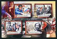 """History of Chess,"" Mint Sheet of 4, Solomon Islands, 2013 (Scott 1200)"