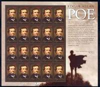 Edgar Allan Poe, Mint Sheet of 20 Stamps, United States, 2009 (Scott 4377)