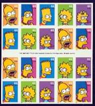 The Simpsons, Pane of 20 Stamps, United States, 2009 (Scott 4403b)