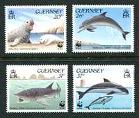 WWF - Marine Animals, Mint set of 4 Stamps, Guernsey, 1990 (Scott 441-4)