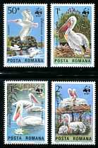 WWF - Pelicans, Mint Set of 4 Stamps, Romania, 1984 (Scott 3232-5)