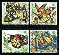 WWF - Monarch Butterflies, Mint Set of 4 Stamps, Mexico, 1988 (Scott 1559-62)