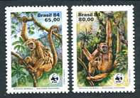 WWF - Woolly Spider Monkey, Mint Set of 2 Stamps, Brazil, 1994 (Scott 1926-7)