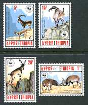 WWF - Wala Ibex, Mint Set of 4 Stamps, Ethiopia, 1990 (Scott 1303-6)