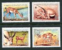 WWF - Rhim Gazelle, Mint Set of 4 Stamps, Libya, 1987 (Scott 1325-8)