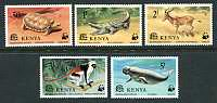 WWF - Endangered Species, Mint Set of 5 Stamps, Kenya, 1977 (Scott 89-93)