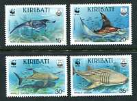 WWF - Manta Ray & Whale Shark, Mint Set of 4 Stamps, Kiribati, 1991 (Scott 562-5)