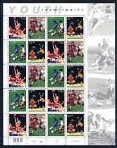 Youth Team Sports, Mint Sheet of 20 Stamps, United States, 2000 (Scott 3399-3402)
