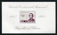 Abraham Lincoln Death Centenary & JFK, Airmail Souvenir Sheet, Liberia, 1965 (Scott C166)
