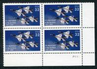 U.S. Air Force 50th Anniv. Issue, Plate# Block of 4 Stamps, United States, 1997 (Scott 3167)