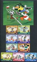 Disney - 1982 World Cup Soccer, Set of 10 Stamps, Dominica, 1982 (Scott 744-53)