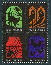 """Spooky Silhouettes,"" Block of 4 Stamps, United States, 2019 (Scott 5423a)"