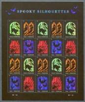 """Spooky Silhouettes,"" Sheet of 20 Stamps, United States, 2019 (Scott 5423a)"
