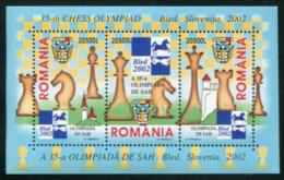35th Chess Olympiad, Sheet of 3 Stamps, Romania, 2002 (Scott 4546)