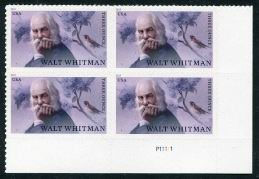 Walt Whitman Issue, Plate# Block of 4 Stamps, United States, 2019 (Scott 5414)