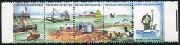 The Sea Shore, Strip of 4 Stamps + Label, Belgium, 1988 (Scott 1283)
